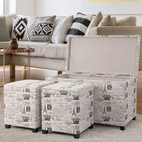 Brindley 3 Piece Storage Ottoman Set by Ebern Designs