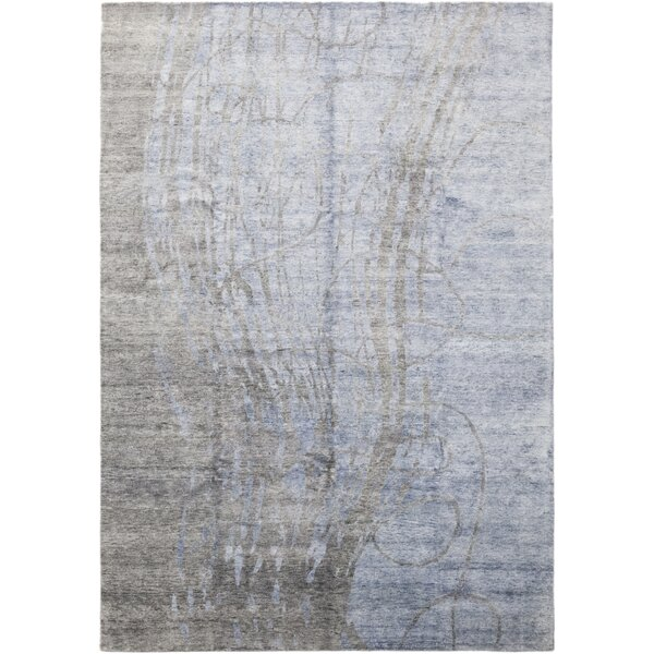One-of-a-Kind Croyle Hand-Knotted Silk Blue Indoor Area Rug by Isabelline