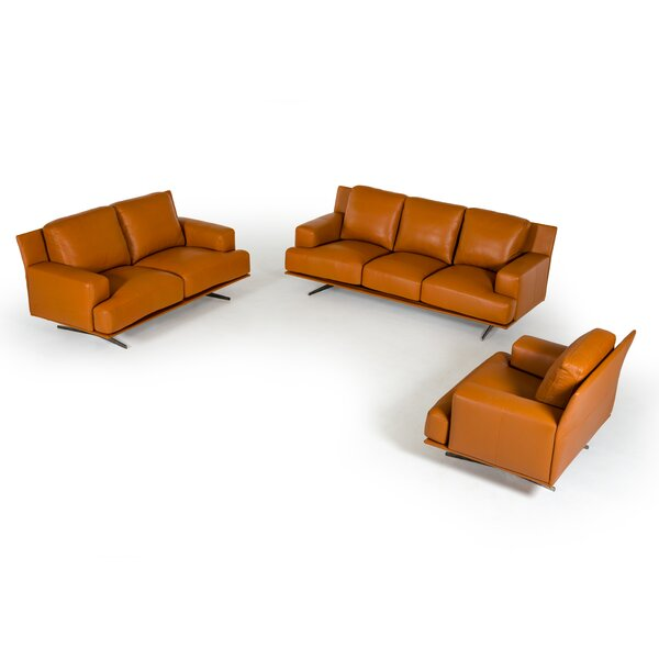 Lane 3 Piece Leather Living Room Set by Corrigan Studio