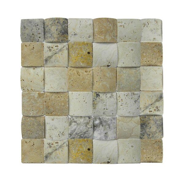 3D Honed 2 x 2 Natural Stone Mosaic Tile in Beige/Gray by QDI Surfaces