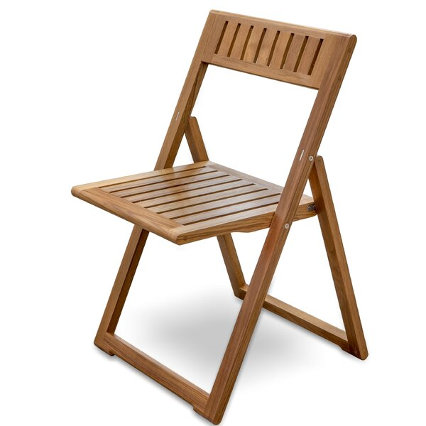 Kiera Folding Teak Patio Dining Chair by Rosecliff Heights