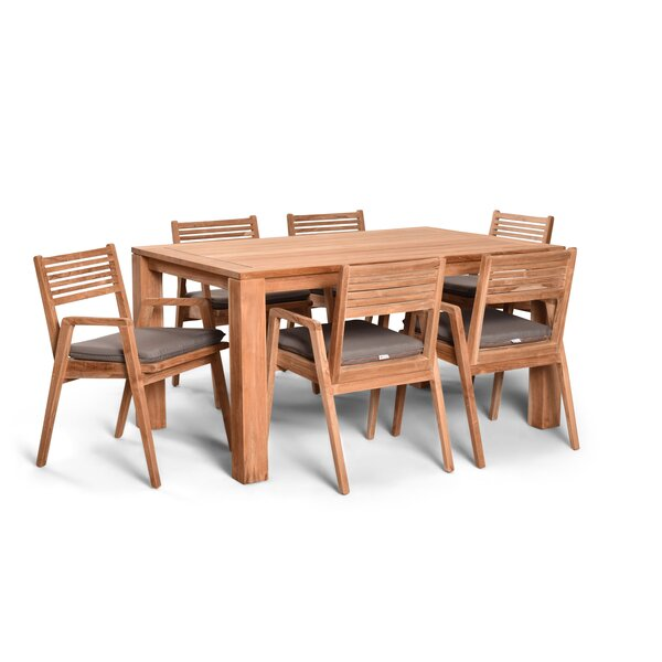 Link 7 Piece Teak Dining Set With Sunbrella Cushions (Set of 7) by Harmonia Living