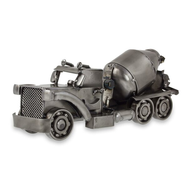 Rustic Cement Mixer Recycled Auto Part Sculpture by Novica