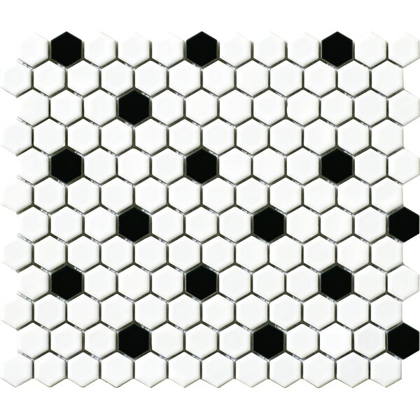 Vintage 1 x 1 Porcelain Mosaic Tile in White/Black Hexagon by Walkon Tile