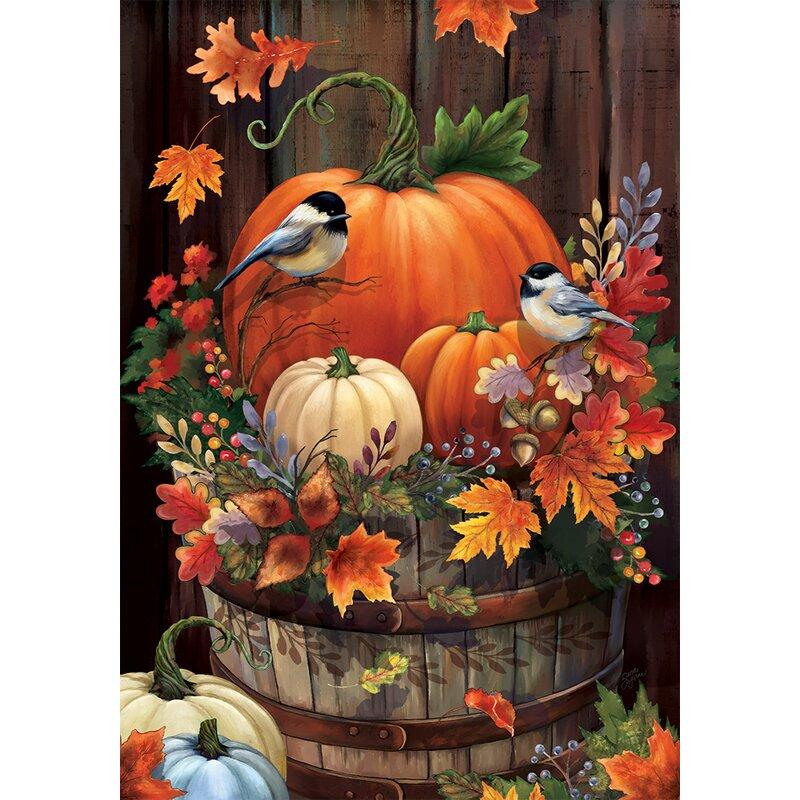 Custom Decor Pumpkin Barrel 2-Sided Polyester Garden Flag ...
