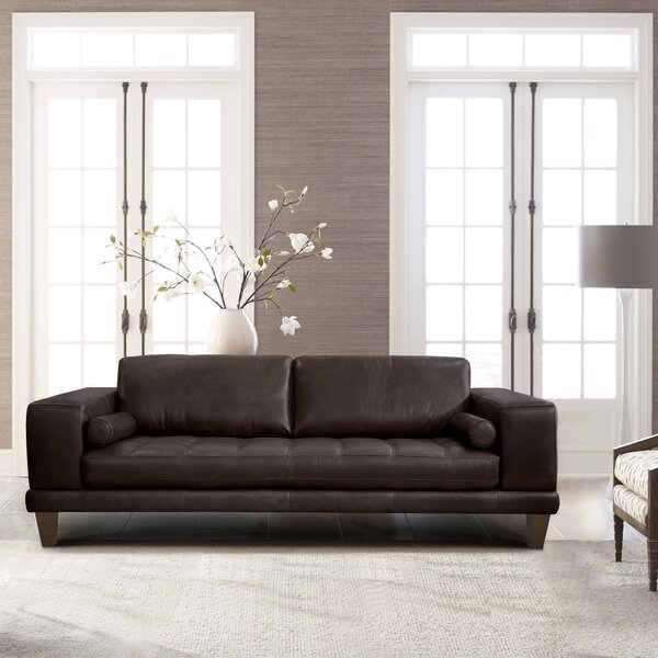 Randolph Leather Sofa by Orren Ellis