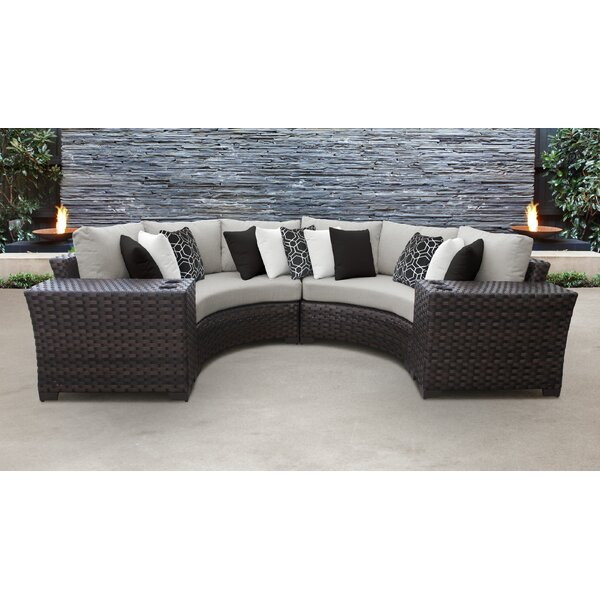 kathy ireland Homes & Gardens River Brook 4 Piece Outdoor Wicker Patio Furniture Set 04a by kathy ireland Homes & Gardens by TK Classics