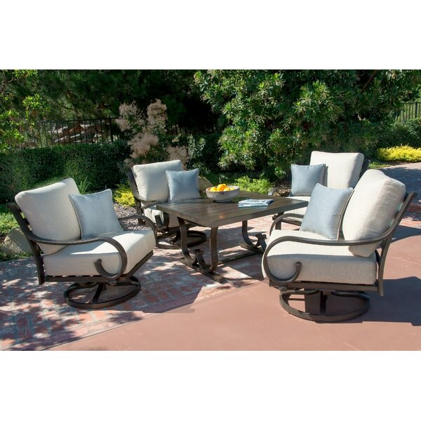 Columbia 5 Piece Dining Set with Sunbrella Cushions by Fleur De Lis Living