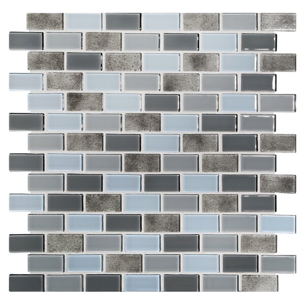 Tides 0.75 x 1.63 Glass Mosaic Tile in Oyster by Kellani