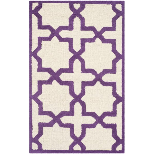 Martins Ivory / Purple Area Rug by Wrought Studio