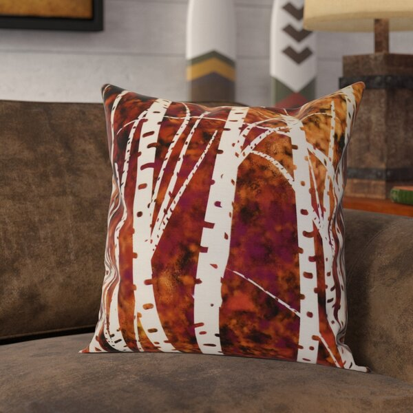 Brookfield Birch Trees Floral Throw Pillow by Loon Peak