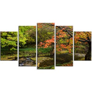 'Fall Trees in Bright Colors' Photographic Print Multi-Piece Image on Canvas by Design Art