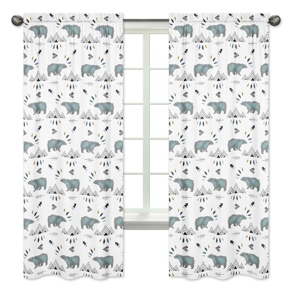 Bear Mountain Wildlife Rod Pocket Window Curtain Panels (Set of 2) by Sweet Jojo Designs