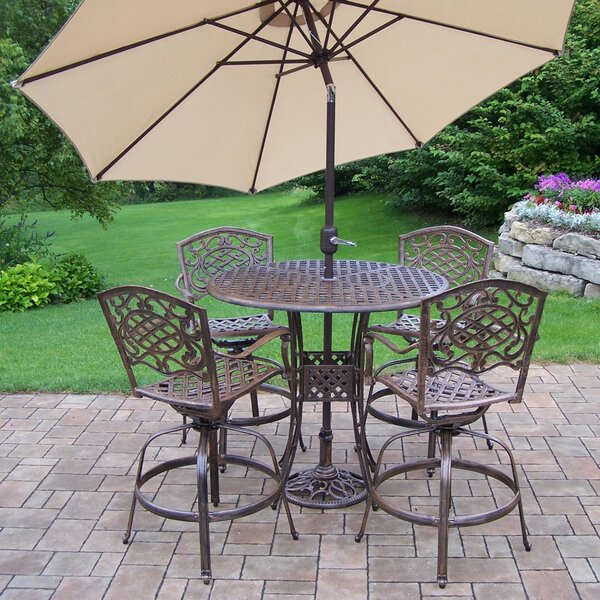 Thelma 6 Piece Bar Height Dining Set with Umbrella by Astoria Grand