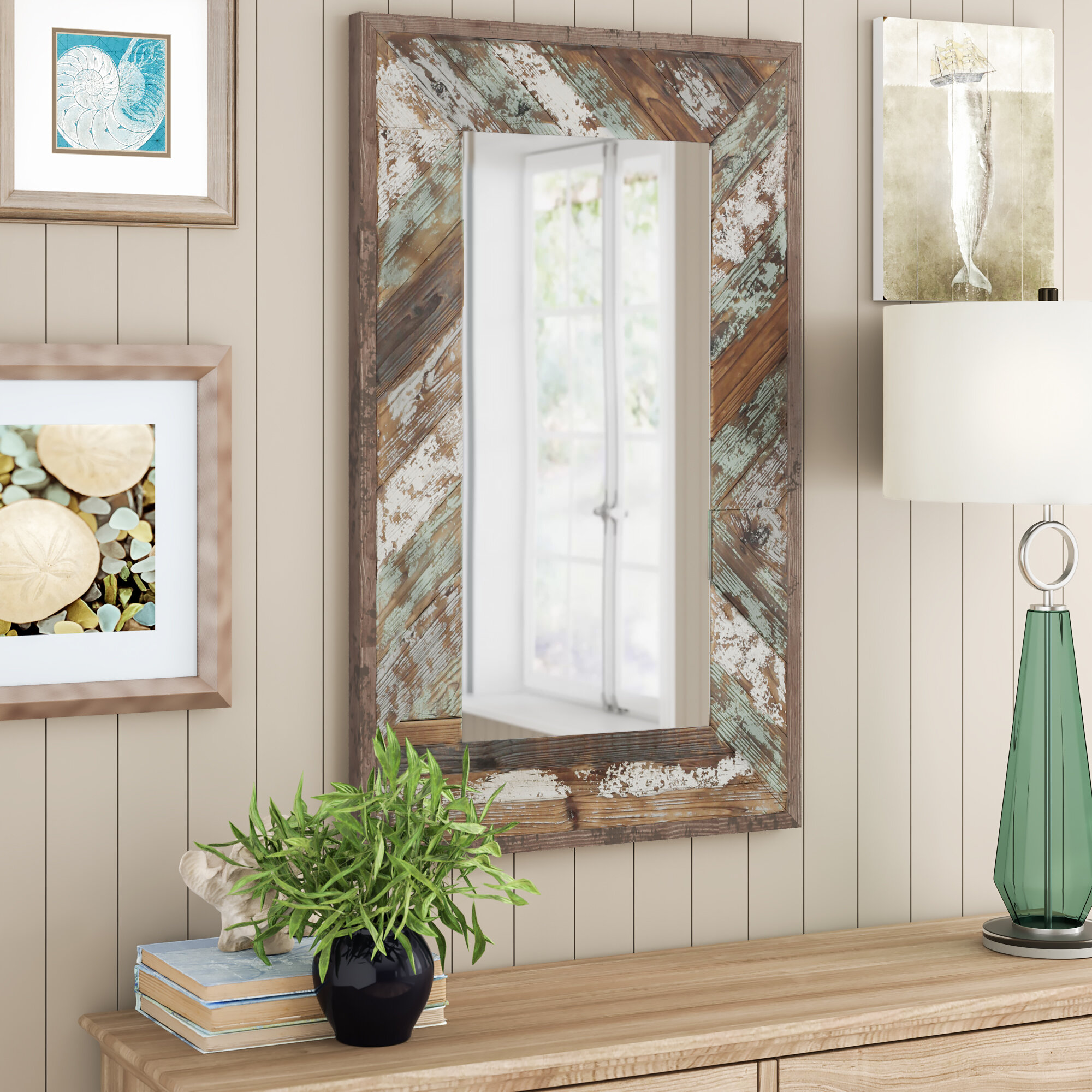 Mistana Ryne Distressed Wood Accent Mirror Reviews Wayfair