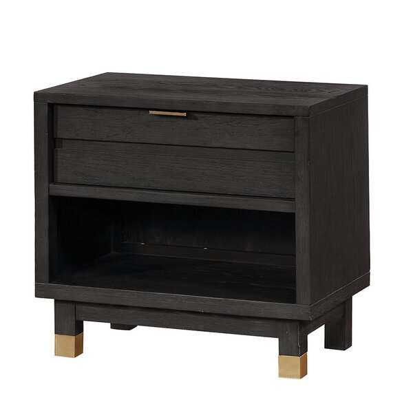 Byrd Transitional Wood 1 Drawer Nightstand by Mercer41