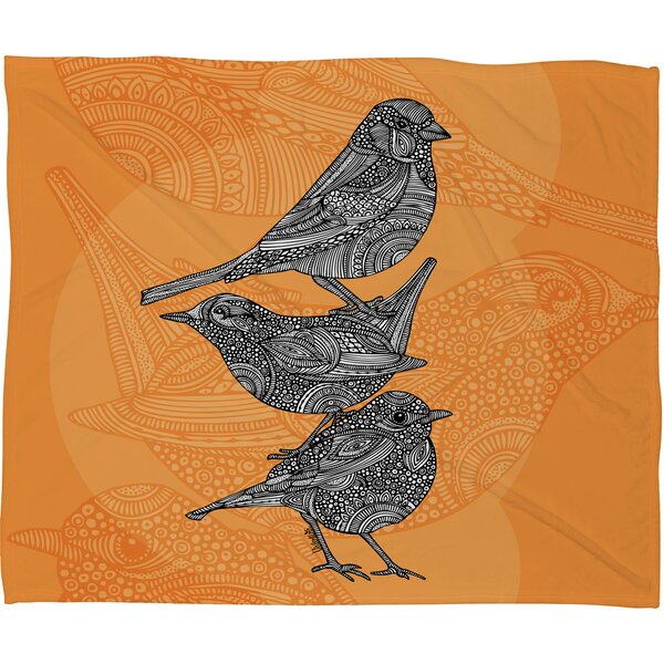 Valentina Ramos 3 Little Birds Throw Blanket by Deny Designs