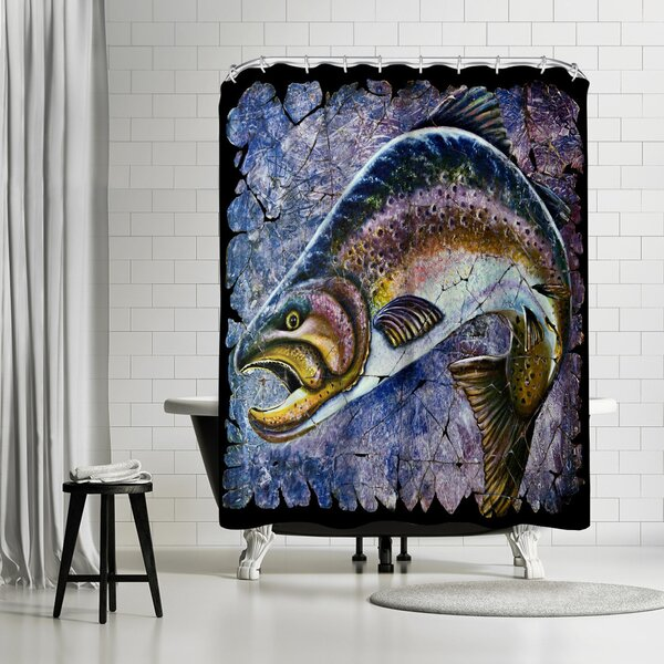 OLena Art Vintage Blue Trout Fresco Shower Curtain by East Urban Home