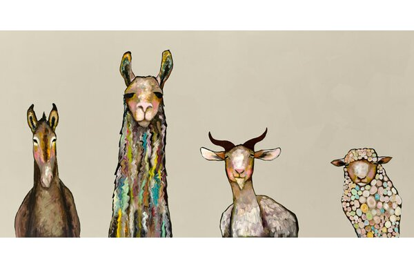 Donkey Llama Goat Sheep Acrylic Painting Print On Canvas In Cream By Mercury Row.