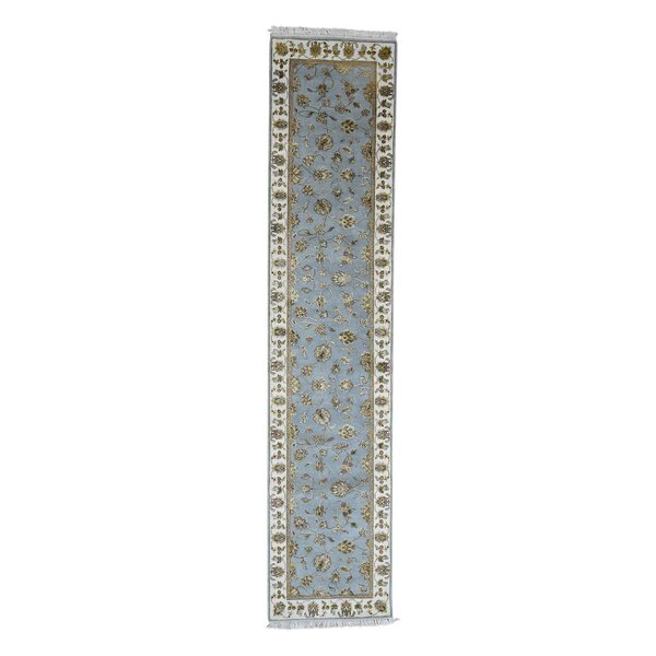 One-of-a-Kind Dubin Half and Half Rajasthan Oriental Hand-Knotted Silk Blue Area Rug by World Menagerie