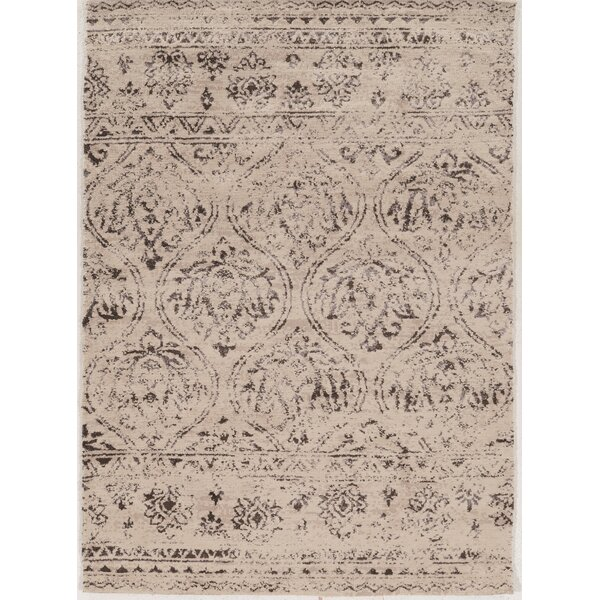 Feliciana Traditional Silk Hand-Tufted Traditional  Ivory Area Rug by Ophelia & Co.