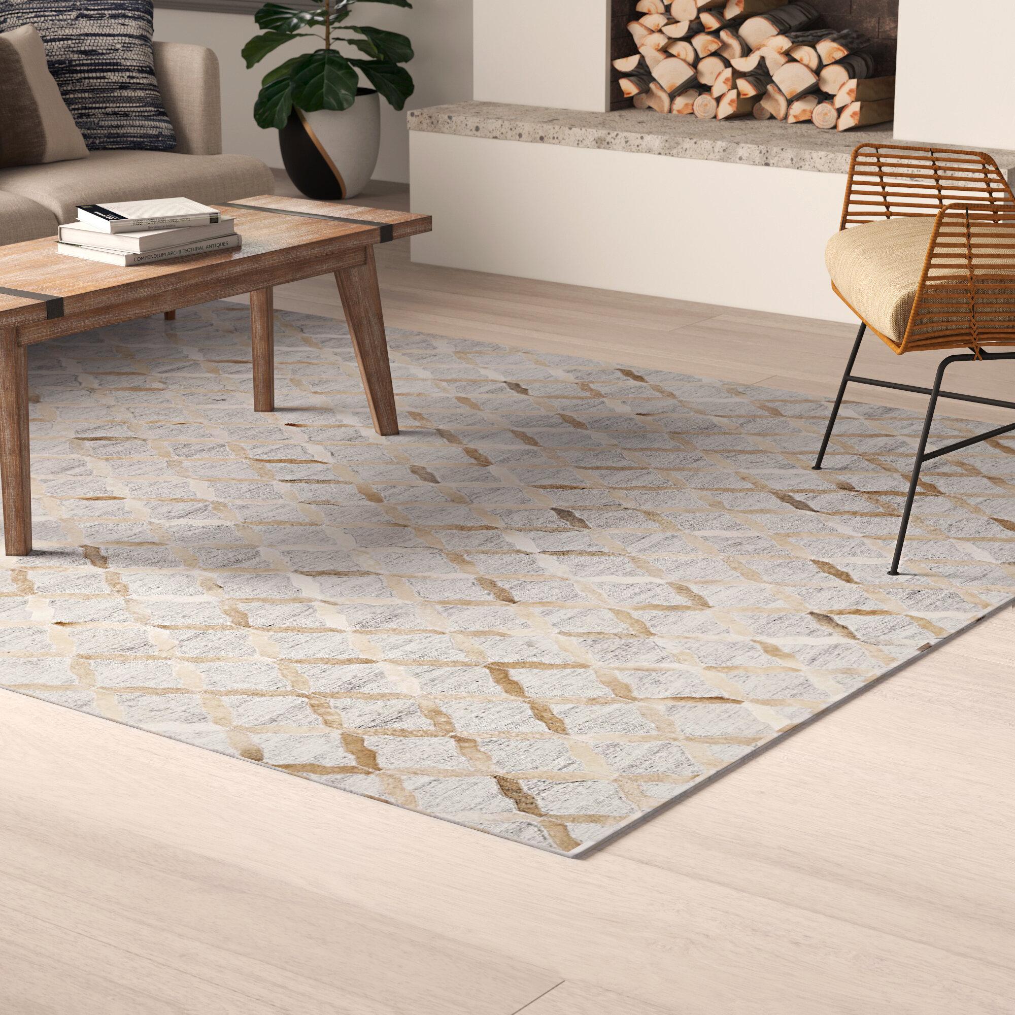 Allmodern Cabello Geometric Beige Gray Area Rug Reviews Wayfair