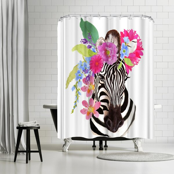 Edith Jackson Zebra Shower Curtain by East Urban Home