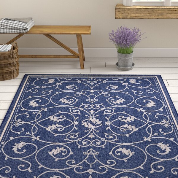 Feltner Blue/Ivory Indoor/Outdoor Area Rug by August Grove