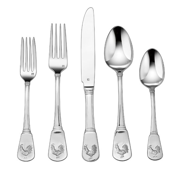 Elite French Rooster 20 Piece Stainless Steel Flatware Set by Cuisinart