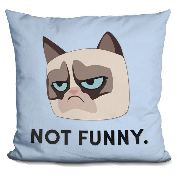 Not Funny Grumpy Cat Throw Pillow by LiLiPi