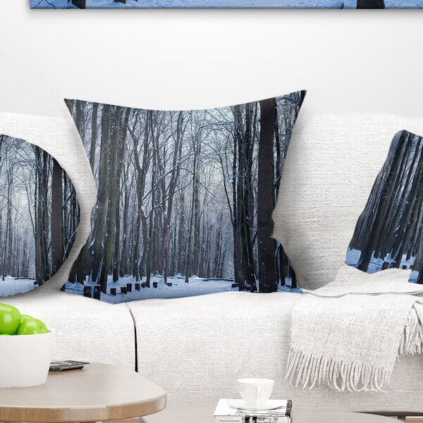 Forest Thick Woods in Winter Pillow by East Urban Home