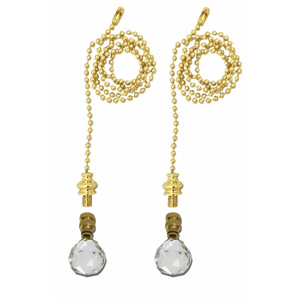 Fan Pull Chain with Medium Faceted Diamond Cut Crystal Finial (Set of 2) by Royal Designs