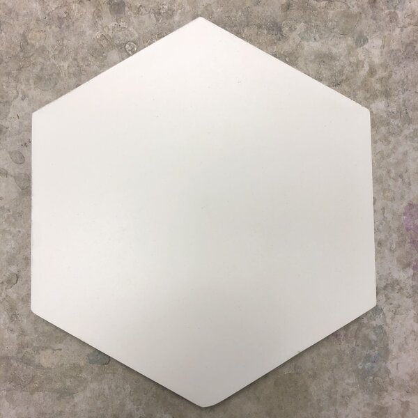 Solid Hex 8 x 8 Cement Field Tile in White by Villa Lagoon Tile
