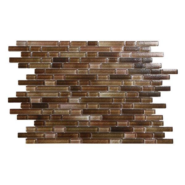 Hi-Fi Offset Linear Random Sized Glass Mosaic Tile in Brown by Kellani