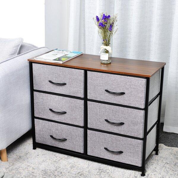 Kleiber 3-Tier Fabric Storage Organizer 6 Drawer Double Dresser by Ebern Designs