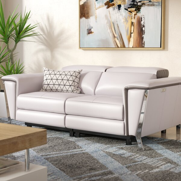 Baccus Genuine Leather Reclining Loveseat By Wade Logan
