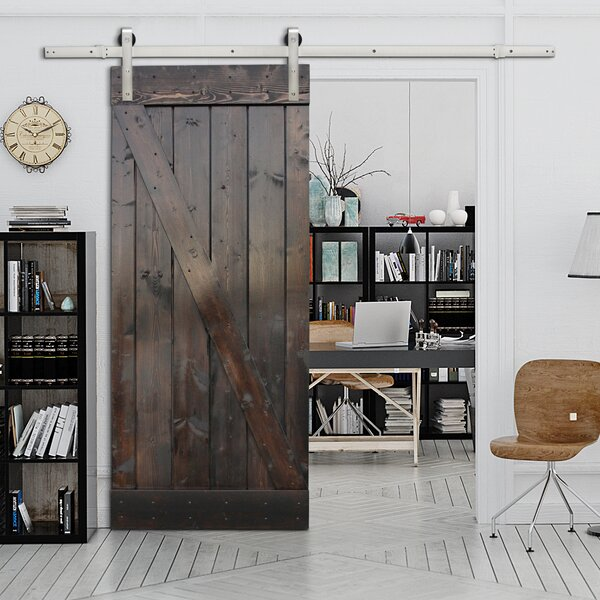 Stain Solid Wood Panelled Slab Interior Barn Door by Calhome