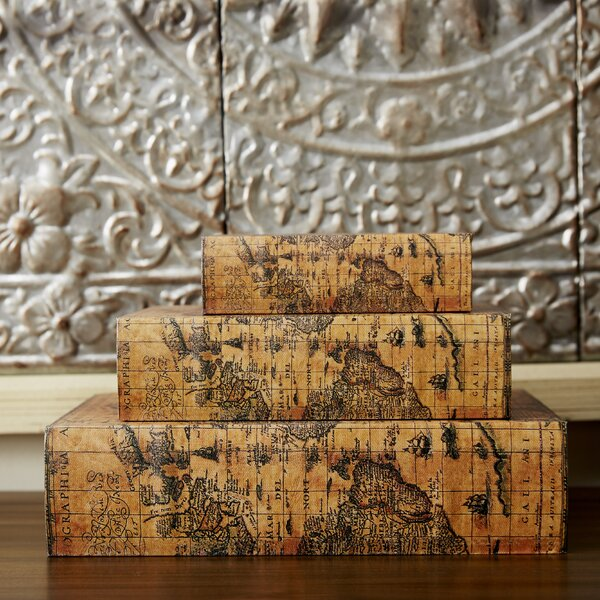Sanjeev 3 Piece Faux Leather Book Box Set by World Menagerie