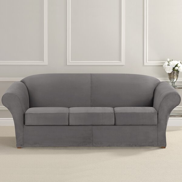 Ultimate Heavyweight Stretch Suede Box Cushion Sofa Slipcover by Sure Fit
