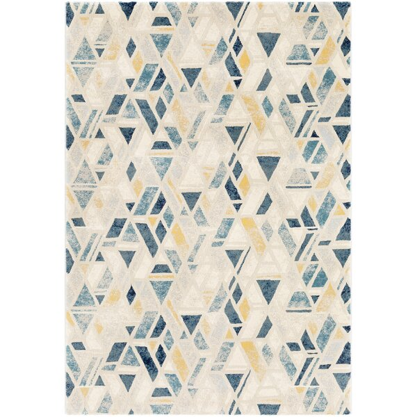 Oakdene Distressed Geometric Cyan/Yellow Area Rug by Wrought Studio
