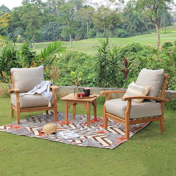 Summerton 3 Piece Teak Seating Group With Cushion by Birch Lane™ Heritage