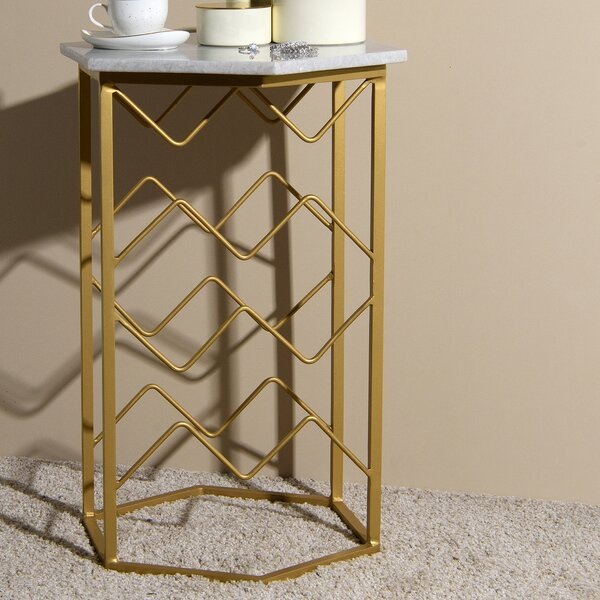 Ganado Marble End Table by Everly Quinn