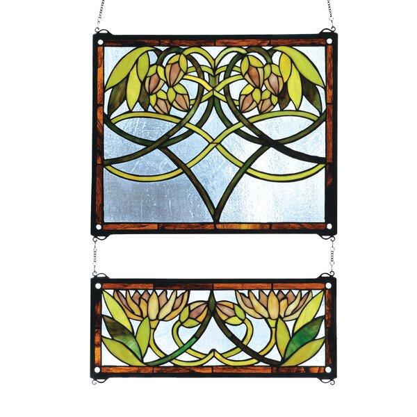 2 Piece Waterlily Stained Glass Window by Meyda Tiffany