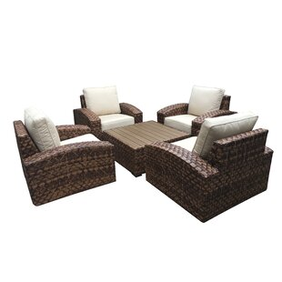 Ventrice 5 Piece Sunbrella Conversation Set with Cushions By Bayou Breeze