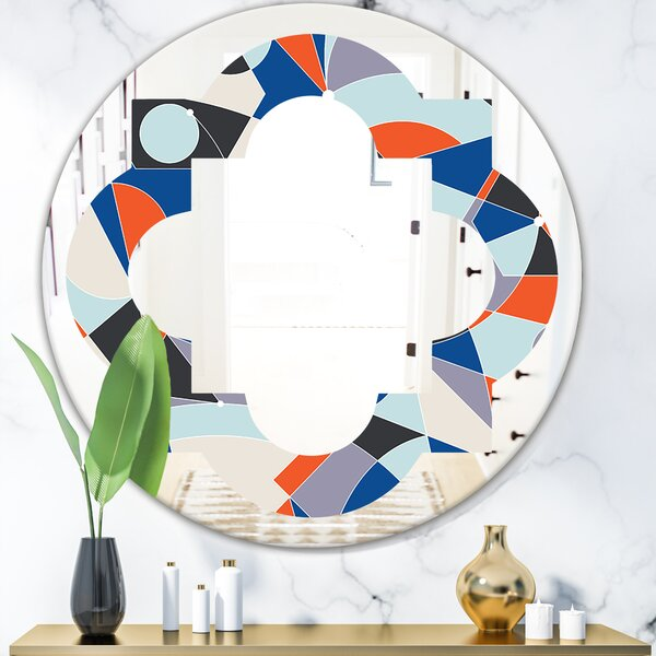 Geometric Grid IV Quatrefoil Modern & Contemporary Frameless Wall Mirror