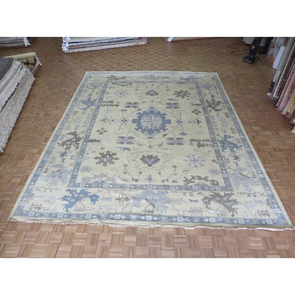 One-of-a-Kind Rhyne Oushak Hand-Knotted Wool Charcoal Light Gold Area Rug by Astoria Grand