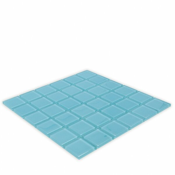 Contempo 2 x 2 Glass Mosaic Tile in Turquoise by Splashback Tile