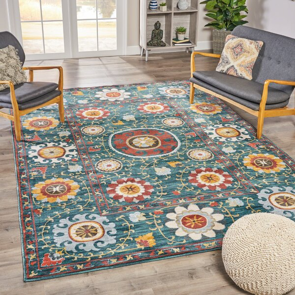 Mckenny Abstract Floral Blue Area Rug by Red Barrel Studio