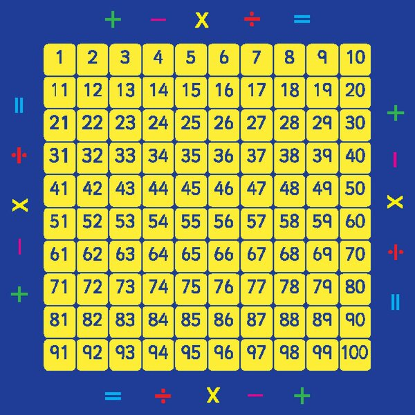100 Square Counting Grid Kids Rug by KaloKids