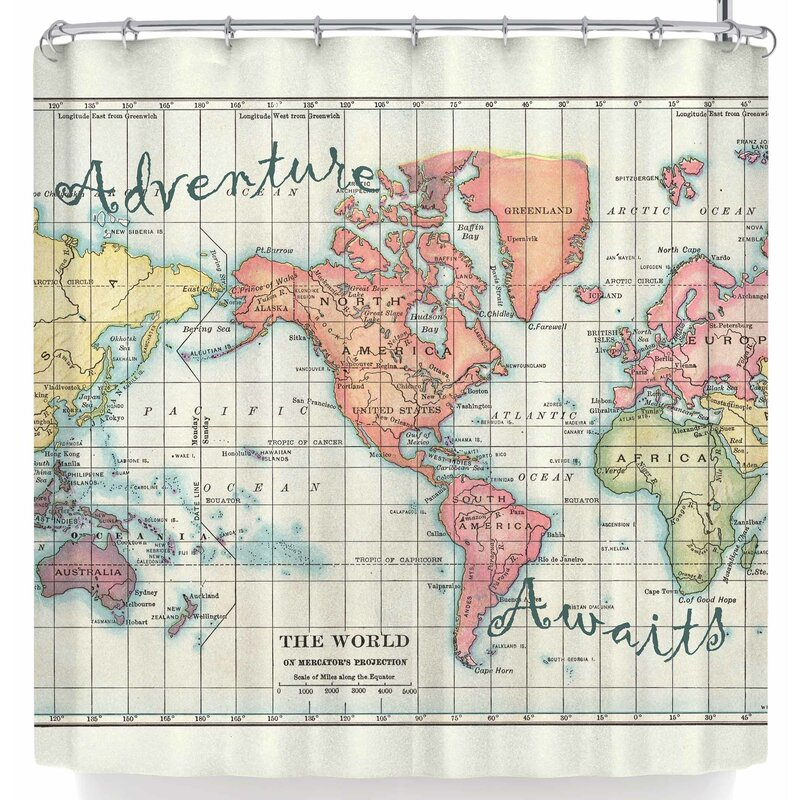 East Urban Home Catherine Holcombe Adventure Awaits World Map Shower